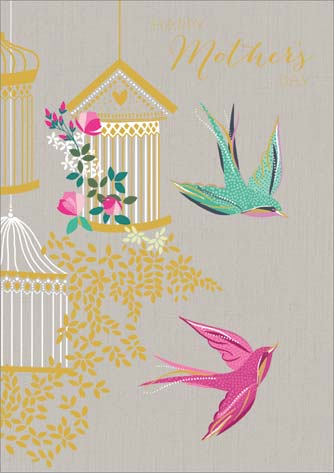 Birds and Cages - Mothers Day Card