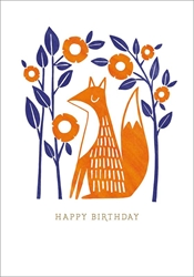 Fox and Flowers - Birthday Card