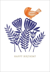 Bird and Flowers - Birthday Card