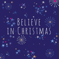 Blue Stars Believe - Christmas Card Christmas
