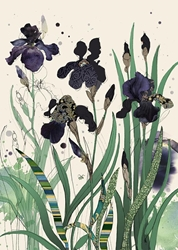 Black Irises - Blank Card