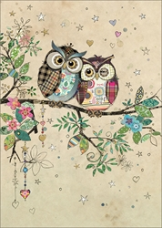Owl Couple - Blank Card Blank