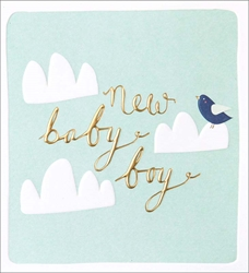 Bird Clouds Boy - Baby Card