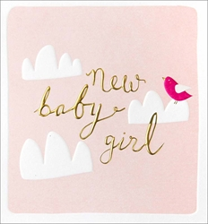 Birds Clouds Girl - Baby Card