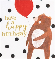 Bear with Balloon - Birthday Card Birthday