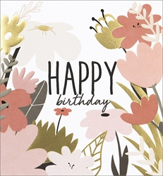 Pink Flowers - Birthday Card