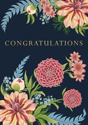 Pink & Blue Flowers - Congratulations Card