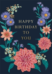 Pink & Purple Flowers - Birthday Card