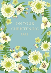 White Flowers - Christening Card