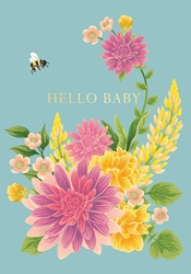 Bee and Flowers - Baby Card