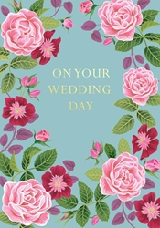 Pink Flowers - Wedding Card