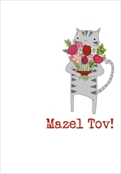 Grey Cat Flowers - Mazel Tov Card Judaica