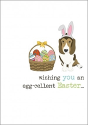 Dog with Basket - Easter Card