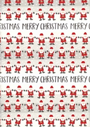 Santa Rows - Sheet Gift Wrap Christmas