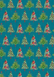 Lit Trees - Sheet Gift Wrap Christmas