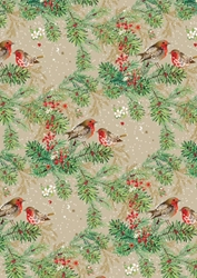 Christmas Robins - Sheet Gift Wrap Christmas