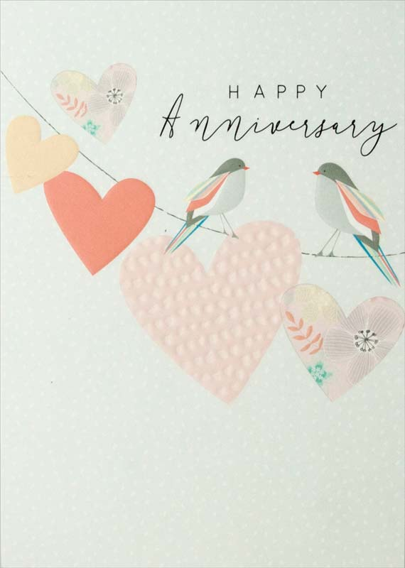 Birds / Hearts - Anniversary Card