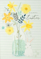 Flowers & Bunny - Easter Card