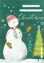 Snowman and Tree - Christmas Card