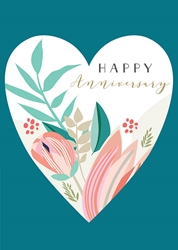 Heart and Flowers - Anniversary Card