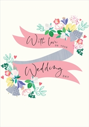 Banner and Flowes - Wedding Card Wedding