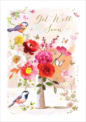 Birds / Flowers - Get Well Card