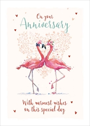 Flamingos - Anniversary Card