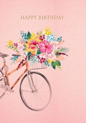 Bike Flowers - Birthday Card