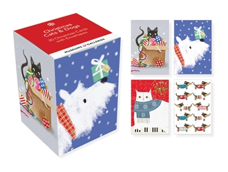 Christmas Cats & Dogs - Mini Notecard Cubes Christmas