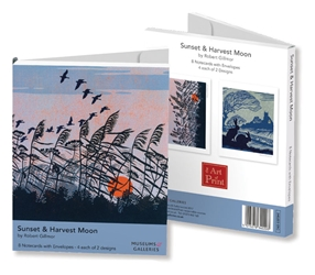 Rectangle Notecard Wallet - Robert Gillmor, Sunset Harvest Moon notecards and stationery