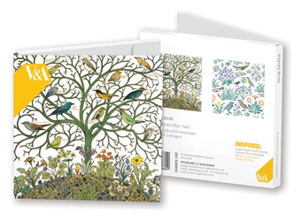 Square Notecard Wallet - V&A, Voysey Birds notecards and stationery