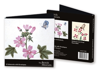 Square Notecard Wallet - British Museum, Butterfly & Flowers notecards and stationery