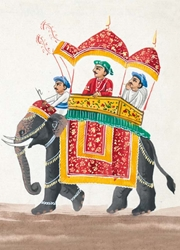 Elephant with Double Canopies Howdah - Blank Card