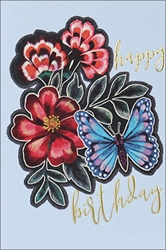 Butterfly with Flowers - Birthday Card