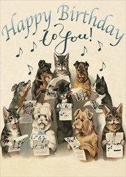 Dog / Cat Sing - Birthday Card