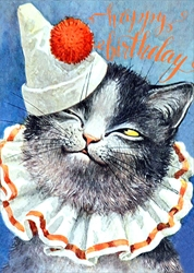 Clown Cat - Birthday Card