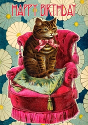 Cat in Chair - Birthday Card