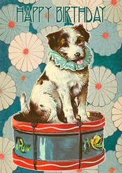 Dog on Drum - Birthday Card