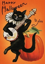 Cat with Banjo - Halloween Card Christmas