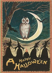 Halloween Owl and Moon Card Halloween