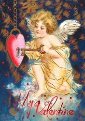 Angel with Key - Valentines Day Card