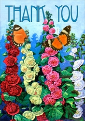 Hollyhocks - Thank You Card