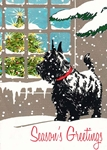 Scottie in Window - Christmas Card Christmas