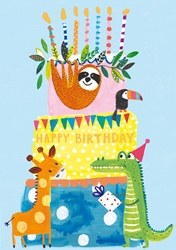 Animals and Cake - Birthday Card