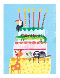 Cake with Animals - Birthday Card Birthday