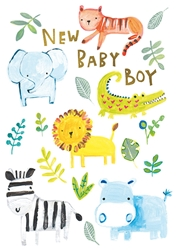 Blue Safari Animals - Baby Card
