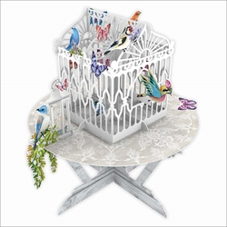 3D Birds & Butterflies in Cage on Table  - Blank Card