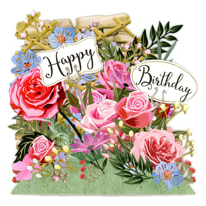 paper d'art  3d flowers  birthday card tw030