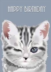 Wink Kitty - Birthday Card Birthday