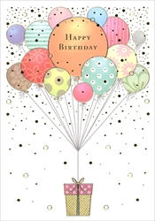 Balloons and Gift - Birthday Card Birthday